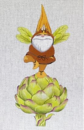 click here to view larger image of Gnome on Artichoke (hand painted canvases)