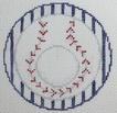 click here to view larger image of Baseball - Monogram Round (hand painted canvases)