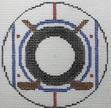 click here to view larger image of Hockey - Monogram Round (hand painted canvases)