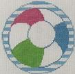 click here to view larger image of Beach Ball - Monogram Round (hand painted canvases)