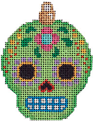 click here to view larger image of Sugar Skull Ornament - Lime (hand painted canvases)