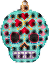click here to view larger image of Sugar Skull Ornament - Aqua (hand painted canvases)