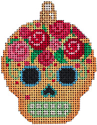 click here to view larger image of Sugar Skull Ornament - Gold (hand painted canvases)
