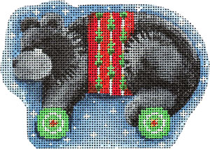 click here to view larger image of Black Bear on Wheels Ornament  (hand painted canvases)