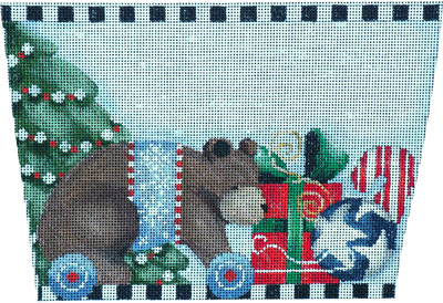 click here to view larger image of Bear on Wheels Stocking Cuff (hand painted canvases)