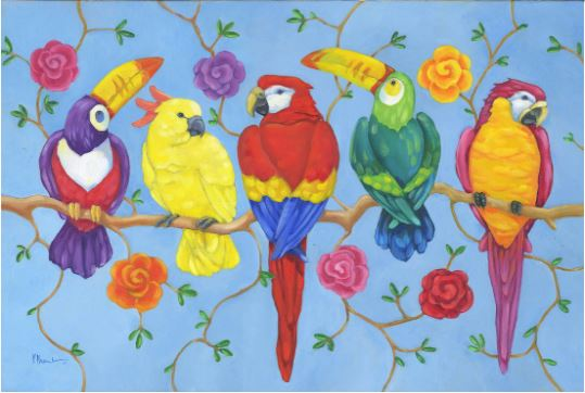 click here to view larger image of Rio Tropical Birds (hand painted canvases)