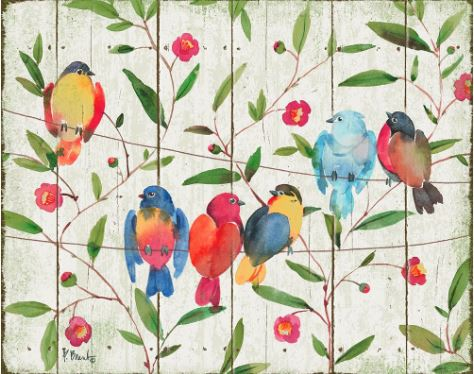 click here to view larger image of Perched 6 Birds - Distressed (hand painted canvases)