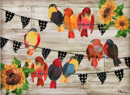 click here to view larger image of Farmhouse Birds Horzontal (hand painted canvases)