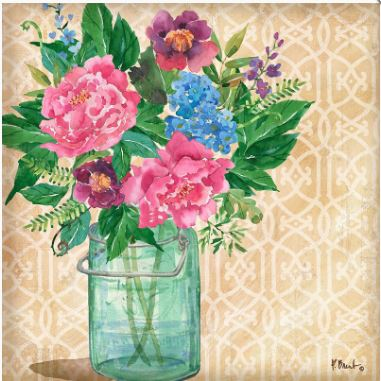 click here to view larger image of Juliette Vase I (hand painted canvases)