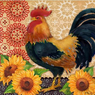 Roosters and Sunflowers II hand painted canvases