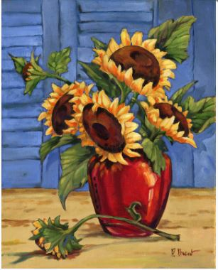 click here to view larger image of Sunflower Vase (hand painted canvases)