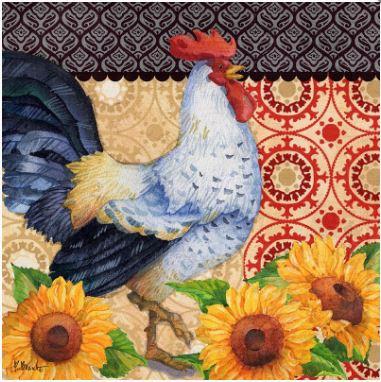 click here to view larger image of Roosters and Sunflowers III (hand painted canvases)