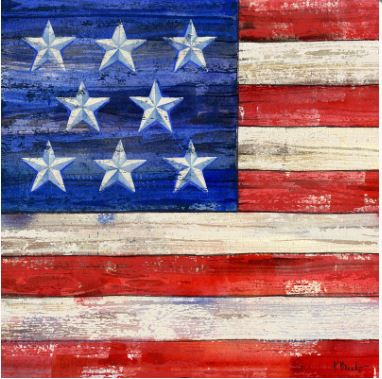 click here to view larger image of All-American Flag I Coaster (hand painted canvases)