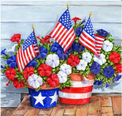 click here to view larger image of Petunias and Flags (hand painted canvases)