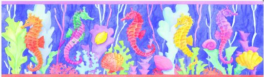 click here to view larger image of Seahorse Border (hand painted canvases)