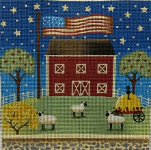 click here to view larger image of Patriotic Barn (hand painted canvases)
