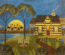 click here to view larger image of Cabin By the Lake (hand painted canvases)