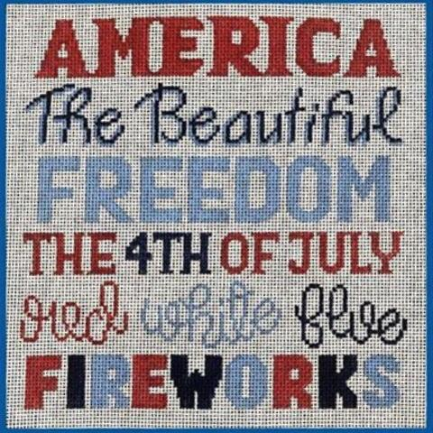 click here to view larger image of 4th of July Words (hand painted canvases)