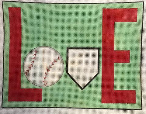 click here to view larger image of LOVE - Baseball (hand painted canvases)