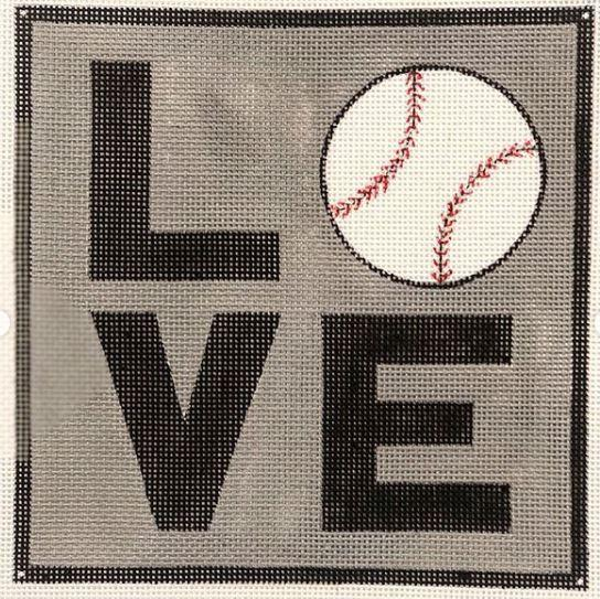 click here to view larger image of LOVE Baseball Square (hand painted canvases)