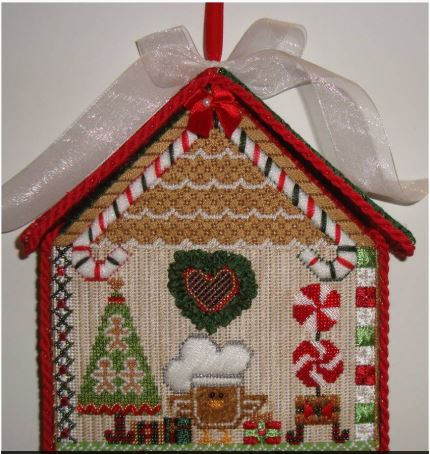 click here to view larger image of Candycane Birdhouse Ornament (hand painted canvases)