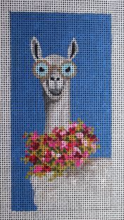 click here to view larger image of Llama - Single Eyeglass Case (hand painted canvases)