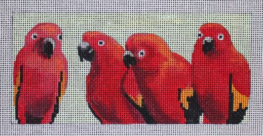 click here to view larger image of 4 Red Parrots (hand painted canvases)
