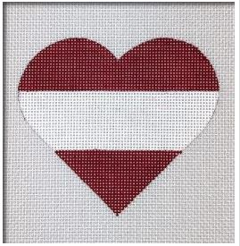 click here to view larger image of Austria Flag Heart   (hand painted canvases)