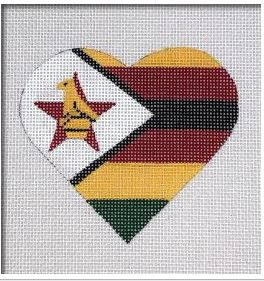 click here to view larger image of Zimbabwe Flag Heart   (hand painted canvases)