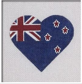 click here to view larger image of New Zealand Flag Heart   (hand painted canvases)