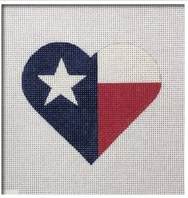 click here to view larger image of Texas Flag Heart   (hand painted canvases)