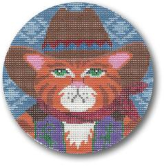 click here to view larger image of Cowboy Cat (hand painted canvases)