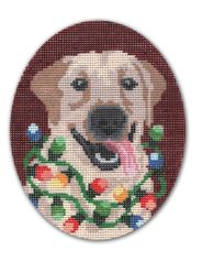 click here to view larger image of Happy Holidays Dog w/Lights (hand painted canvases)