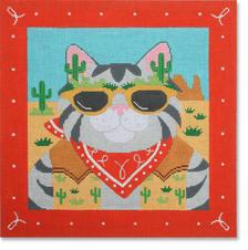 click here to view larger image of Cowboy Cat w/Border (hand painted canvases)
