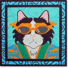 click here to view larger image of Japan Cat w/Border (hand painted canvases)
