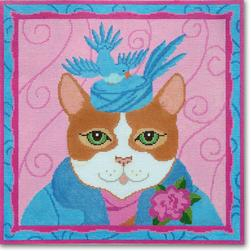 click here to view larger image of Pillbox Hat Cat (hand painted canvases)