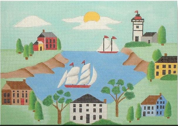 click here to view larger image of New England Scene (hand painted canvases)