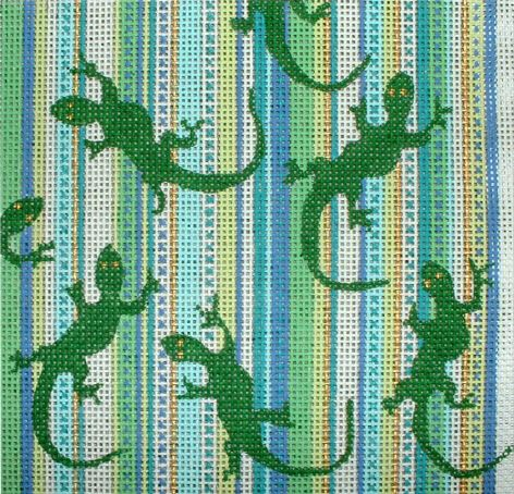 click here to view larger image of Gecko on Stripes (hand painted canvases)