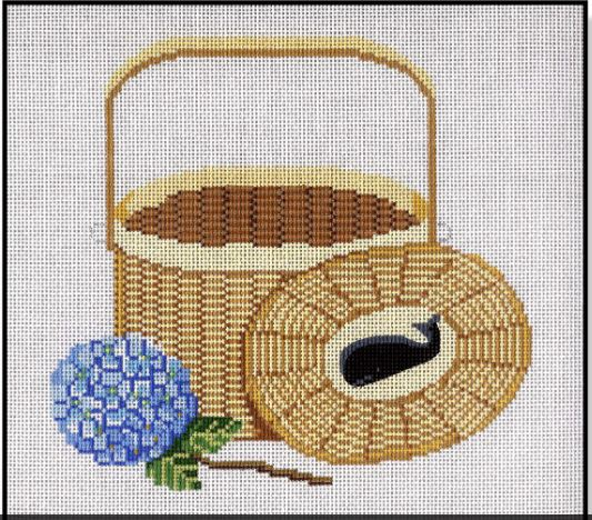 click here to view larger image of Nantucket Basket w/Cover & Hydrangea (hand painted canvases)