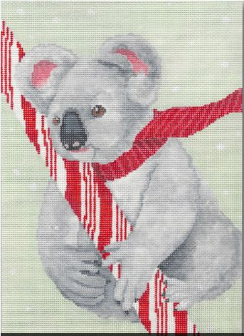 click here to view larger image of Koala w/Candy Cane (hand painted canvases)
