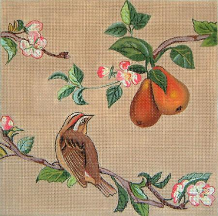 click here to view larger image of Birds in Pear Tree (hand painted canvases)