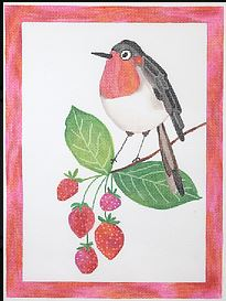 click here to view larger image of Bird with Strawberry Branch  (hand painted canvases)