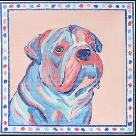 click here to view larger image of Bulldog with Spotted Border (hand painted canvases)