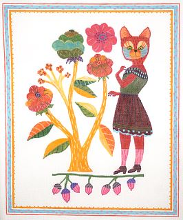 click here to view larger image of Cat with Flowers  (hand painted canvases)