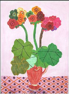 click here to view larger image of Geraniums in a Pitcher (hand painted canvases)