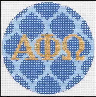 click here to view larger image of Alpha Phi Omega Mini Round (hand painted canvases 2)