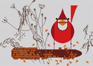 click here to view larger image of Cardinal on the Corn (hand painted canvases)