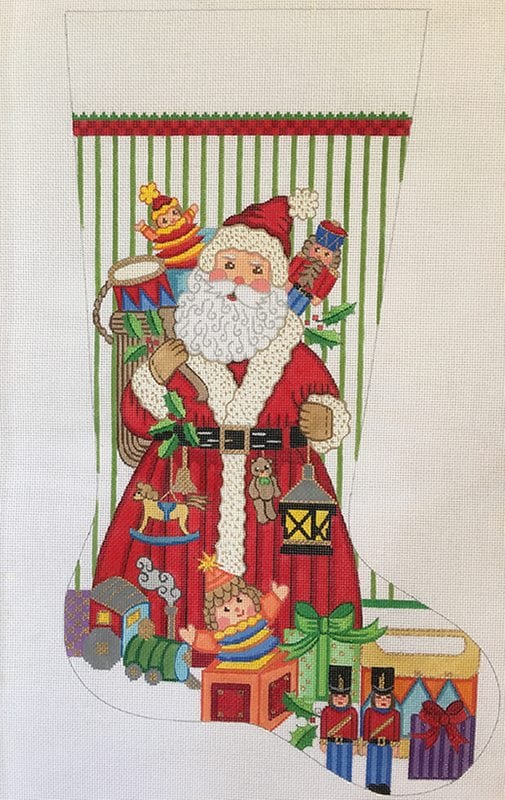 click here to view larger image of Christmas Stocking - Santa w/Toys for Boys (hand painted canvases)