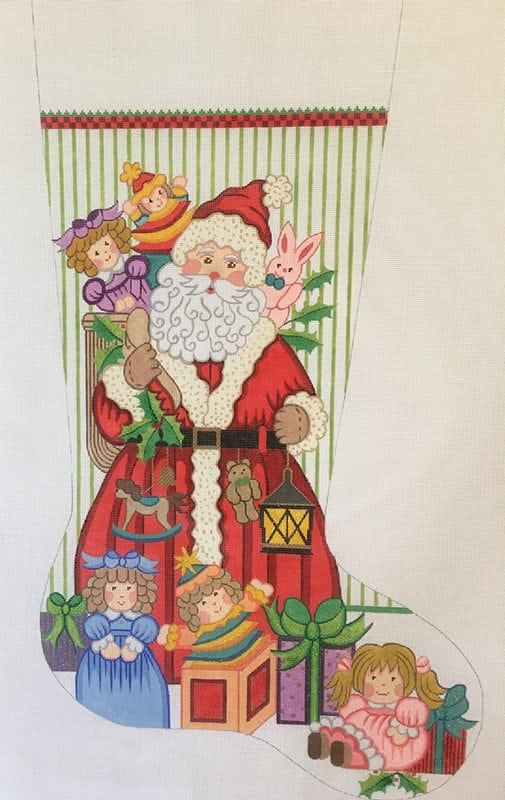 click here to view larger image of Christmas Stocking - Santa w/Toys for Girls (hand painted canvases)