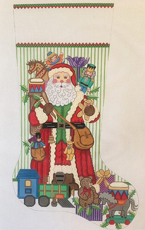 click here to view larger image of Christmas Stocking - Santa with Toys  (hand painted canvases)